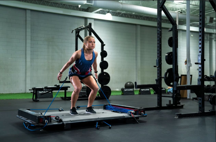 gymnastics - girl on vertimax V8 platform