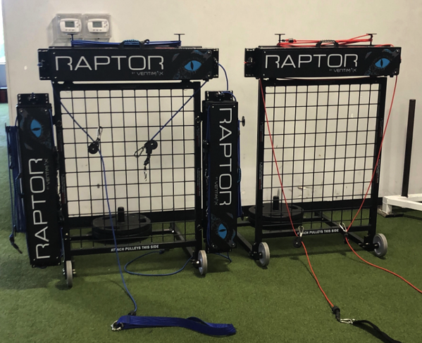 raptors mounted on vertimax portable rack